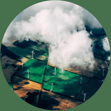 Wind turbines spread across crop farms