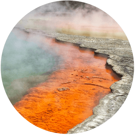Steaming hot spring from the Earth's core