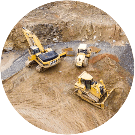 Heavy machinery at work on mining site
