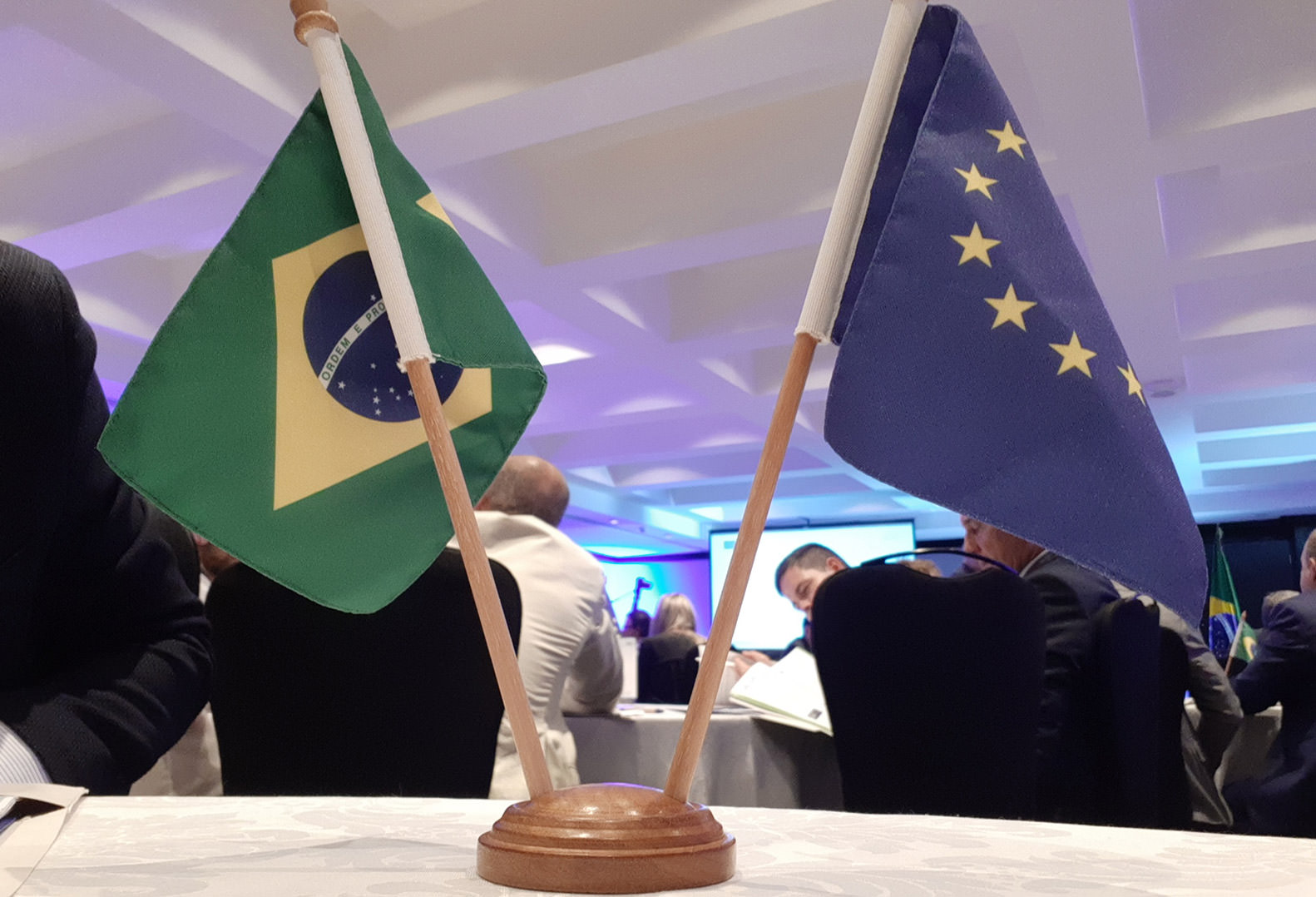Brazilian Flag and Flag of Europe standing in centre of table