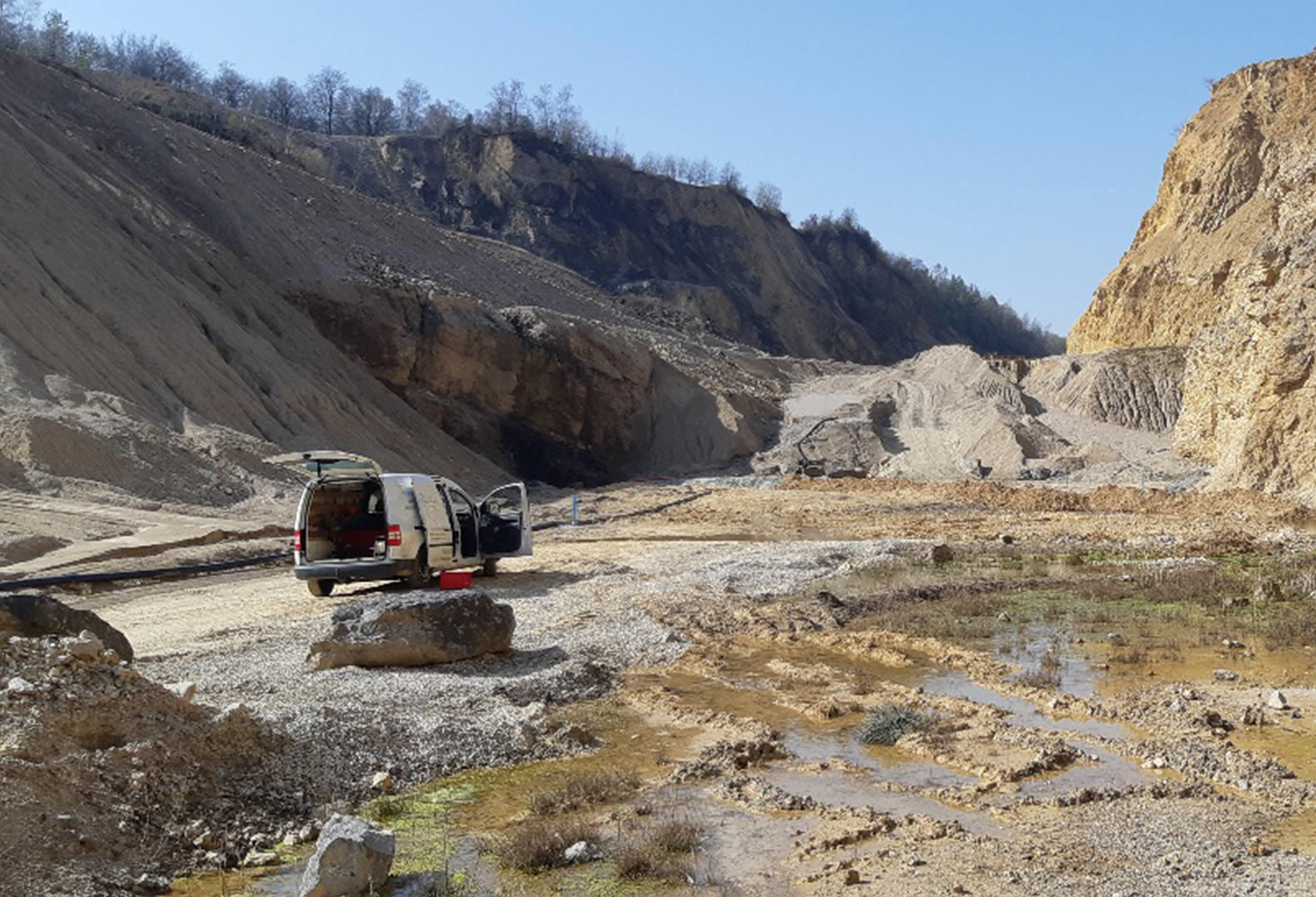 Micropiezometers being installed in an open pit quarry in Belgium
