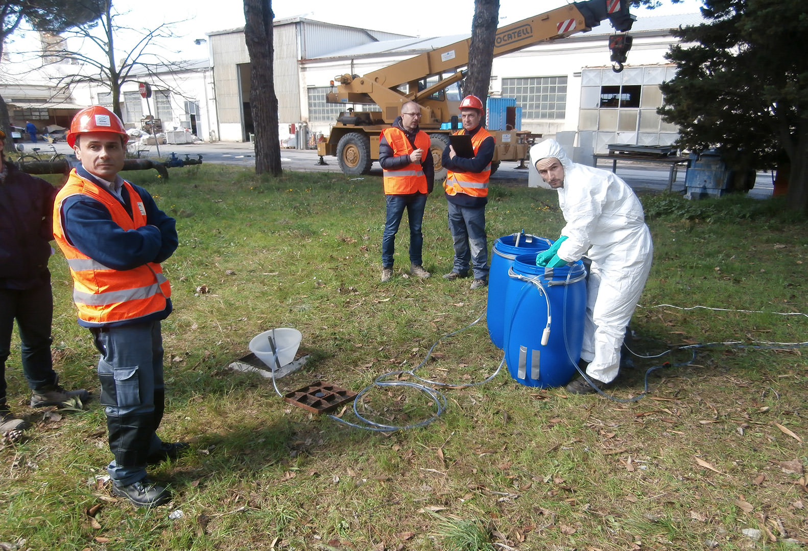 Environmental Authorities supervising tracer test in Italy