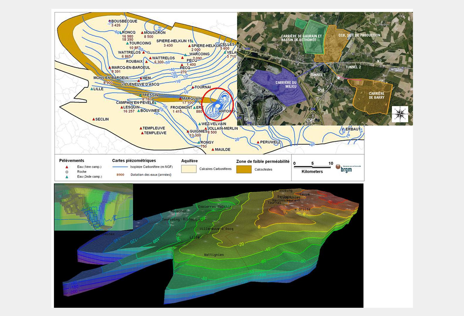 Hydrogeological model for the study and management of a mining exploitation