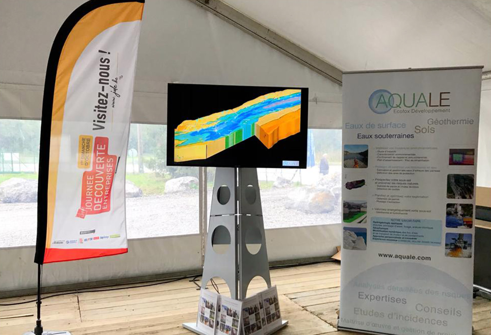 AQUALE Conference stand with 3D model on TV
