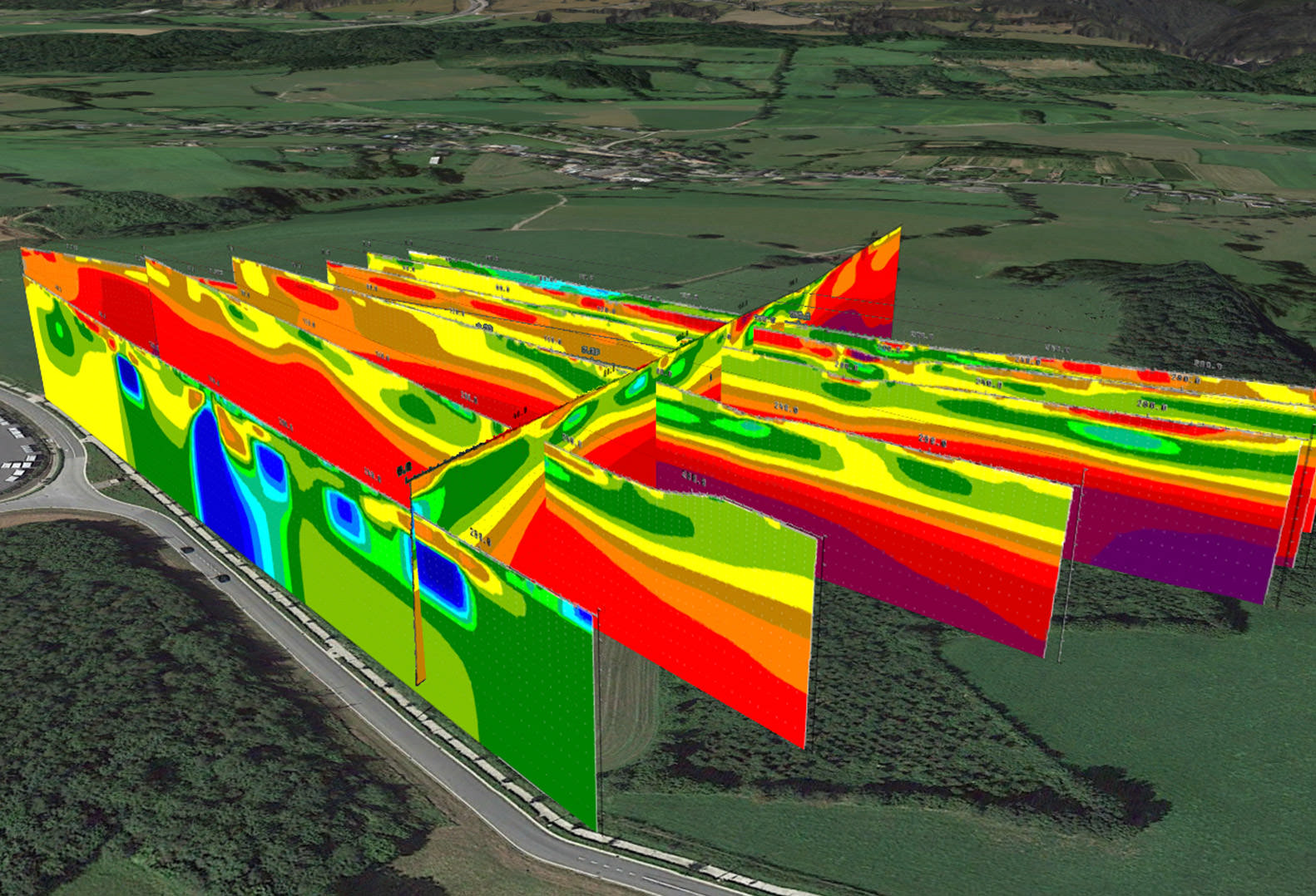 Image of a Preliminary Geophysical model for the extension of a quarry in Belgium